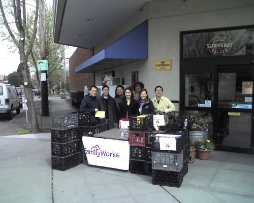 Volunteers collecting food at QFC
